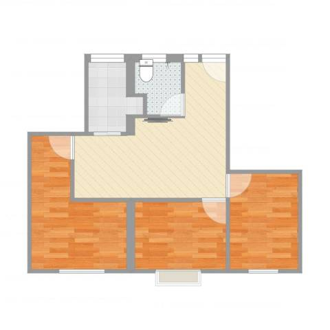 武宁一村3室1厅1卫1厨62.00㎡户型图