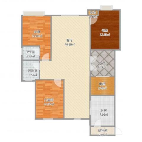 汤河铭筑3室2厅1卫1厨139.00㎡户型图