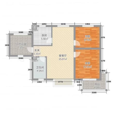 星光城2室1厅1卫1厨67.83㎡户型图