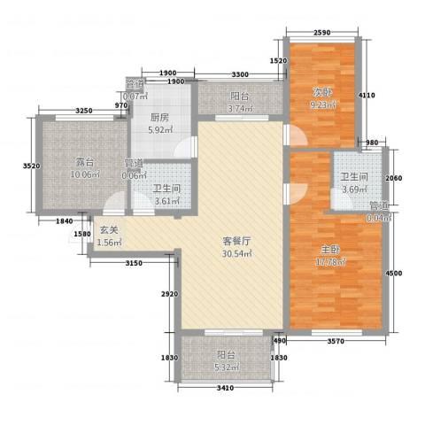 星光城2室1厅2卫1厨90.05㎡户型图