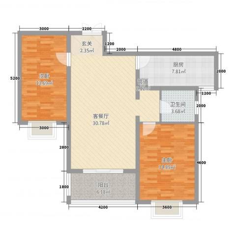 汉浦新村2室1厅1卫1厨77.10㎡户型图