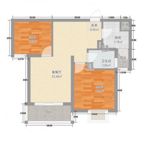 汉浦新村2室1厅1卫1厨78.00㎡户型图