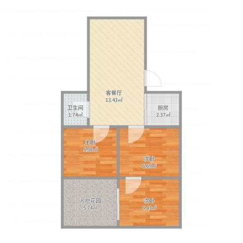 工人新村3室1厅1卫1厨58.00㎡户型图