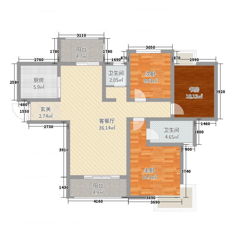 华龙公园天下127.20㎡户型2室2厅2卫
