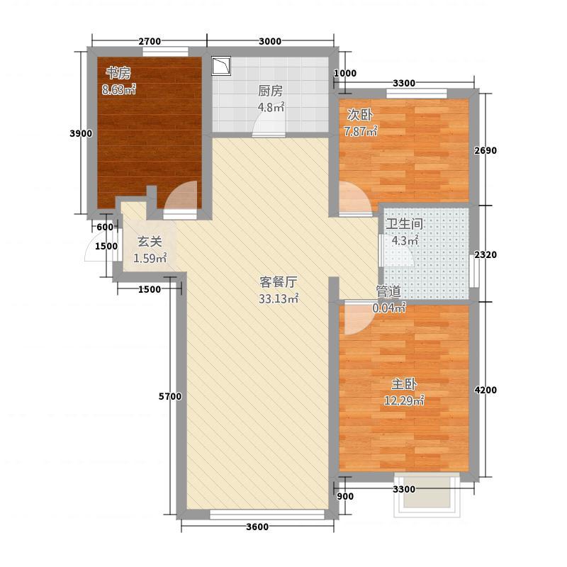 天津华侨城天鹅堡15.00㎡二期高层标准层H3户型3室2厅1卫1厨