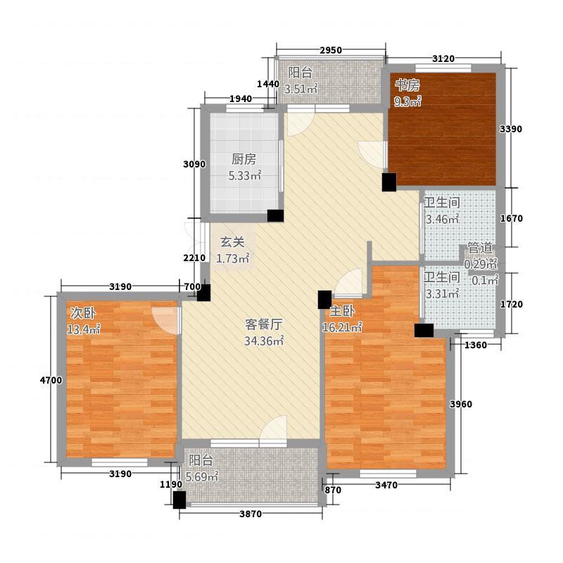 耀江海德城3134.20㎡A型户户型3室2厅2卫1厨