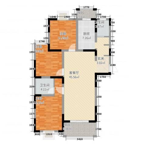 苏尚帝景3室1厅2卫0厨141.00㎡户型图