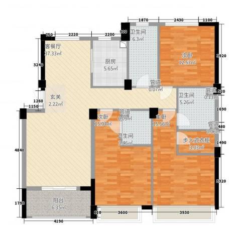 滨江城市之星3室1厅3卫1厨153.00㎡户型图