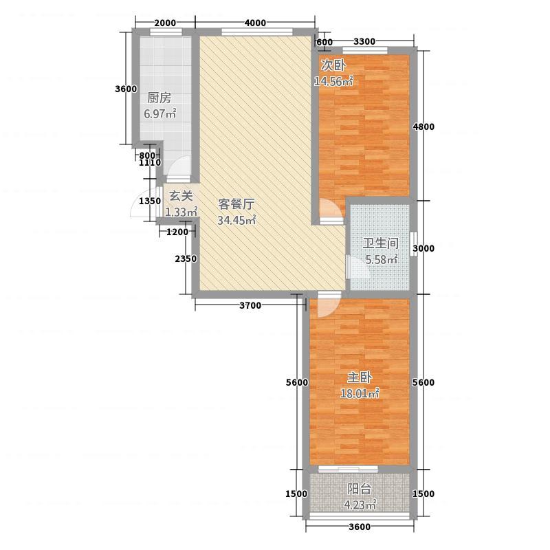 铜川上野名城18.64㎡户型2室1厅1卫1厨