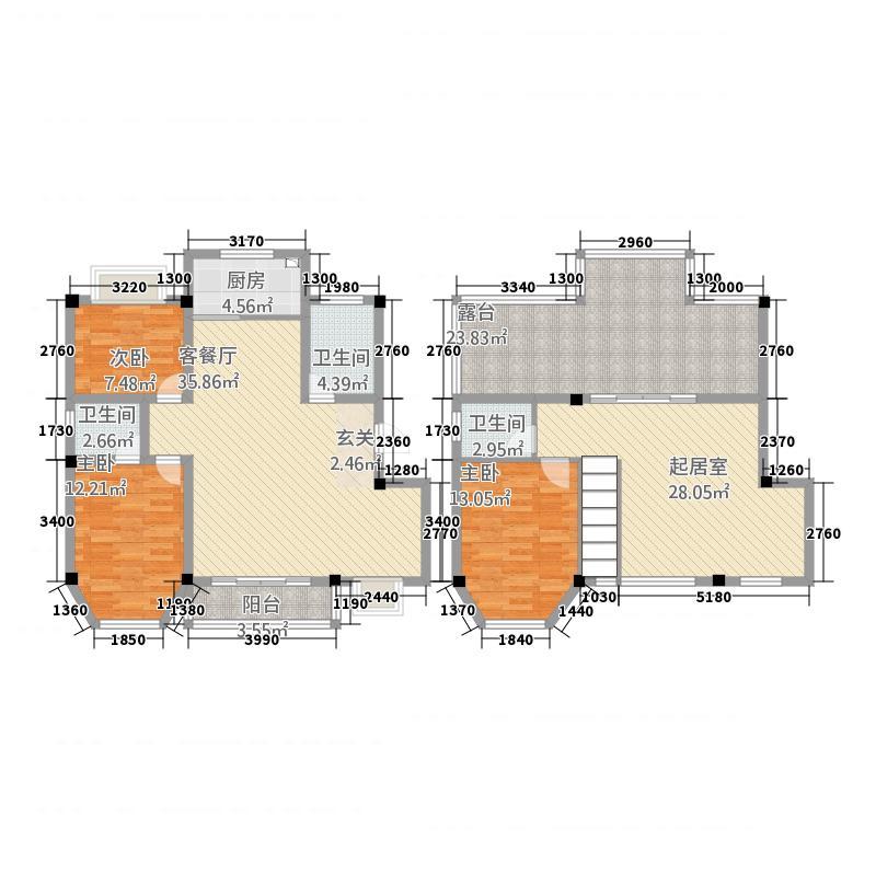 龙口碧海尚城户型3室3厅3卫1厨
