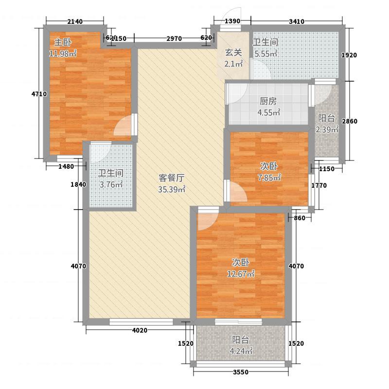 迪臣・世博广场126.87㎡世博1#3#12687户型3室2厅2卫1厨