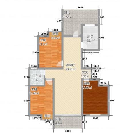 都会华庭3室1厅1卫1厨126.00㎡户型图