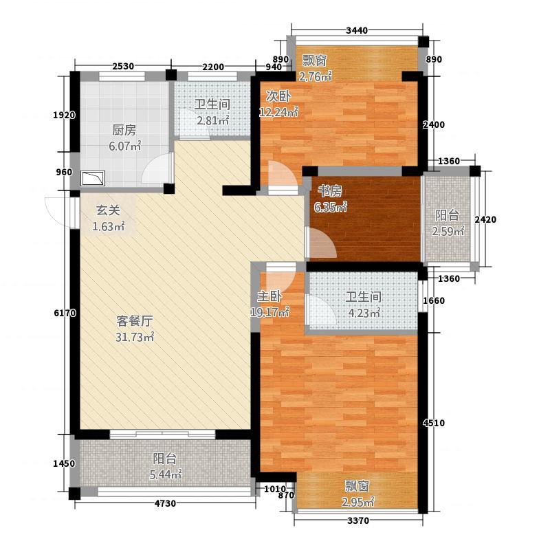 华联2132.20㎡小区(2)户型3室2厅2卫1厨