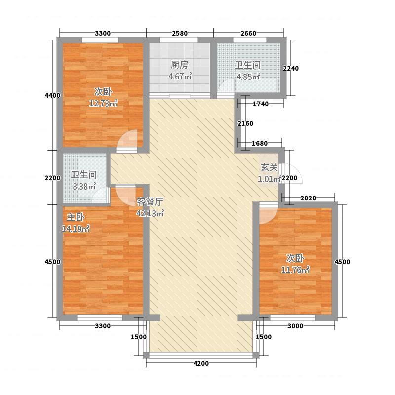 龙源三期12.20㎡B1户型2室2厅1卫1厨
