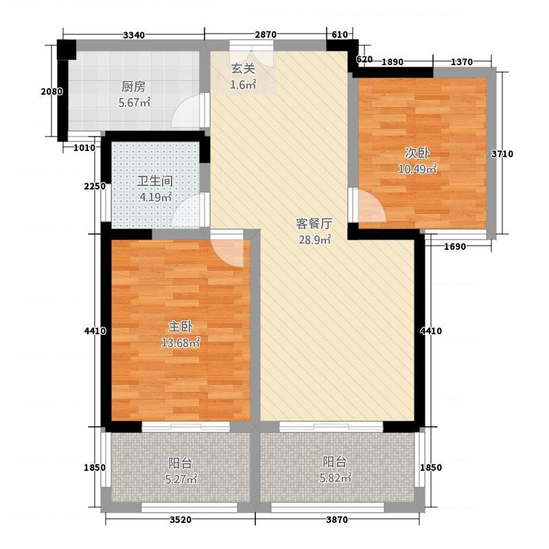 民生・银河湾117.20㎡E1户型2室2厅1卫1厨