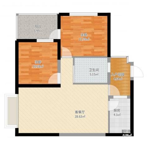 新天地华庭二期2室1厅1卫1厨100.00㎡户型图