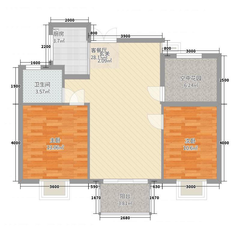 林枫苑32285.18㎡户型2室2厅1卫1厨