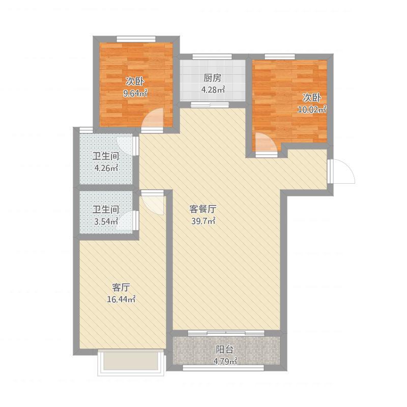 合鑫134户型三室两厅