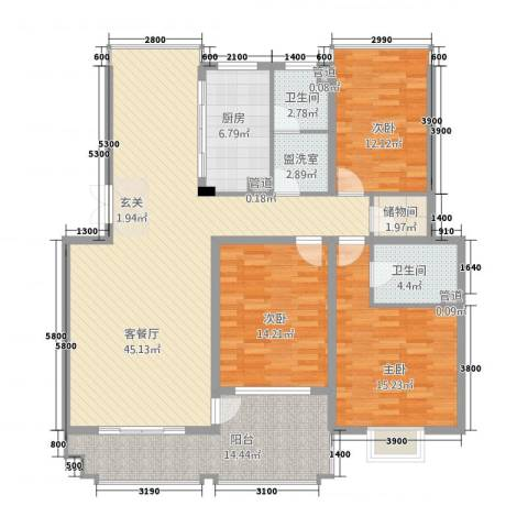 汉浦新村3室2厅2卫1厨120.60㎡户型图