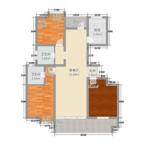 都会华庭3室1厅2卫1厨131.00㎡户型图