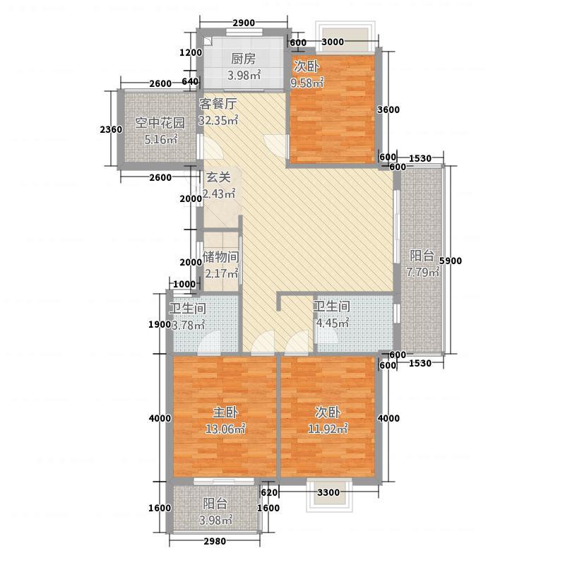 林枫苑32122.66㎡户型3室2厅2卫1厨