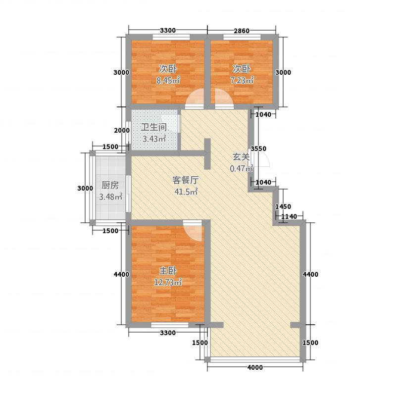 龙源三期13.20㎡C1户型3室2厅1卫1厨