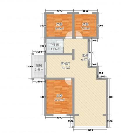 龙源三期3室1厅1卫1厨76.81㎡户型图