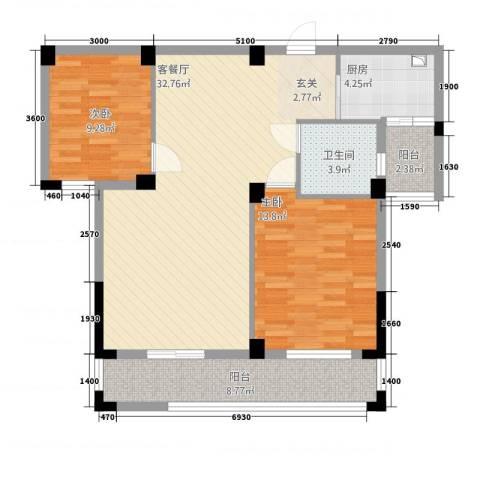 紫金城2室1厅1卫1厨75.13㎡户型图