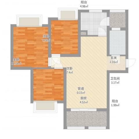 英郦庄园・曼城3室1厅1卫1厨96.00㎡户型图