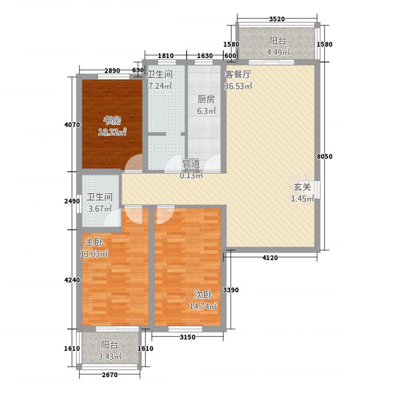 天客来状元府1141.12㎡F1户型3室2厅2卫1厨