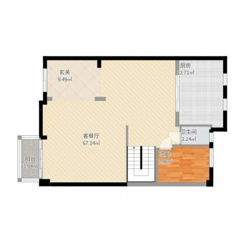 鄞州区格兰春晨加州里1室1厅1卫1厨128.00㎡户型图