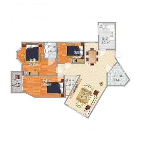 国贸金海岸3室1厅2卫1厨112.00㎡户型图