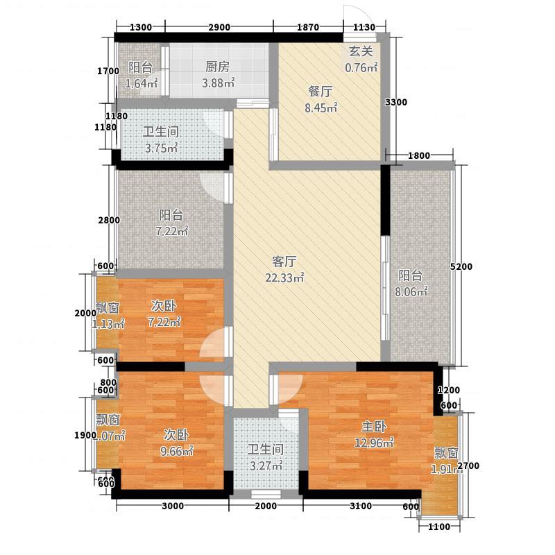 裕丰・寰宇华府211.42㎡2号楼F双卫户型3室2厅2卫1厨