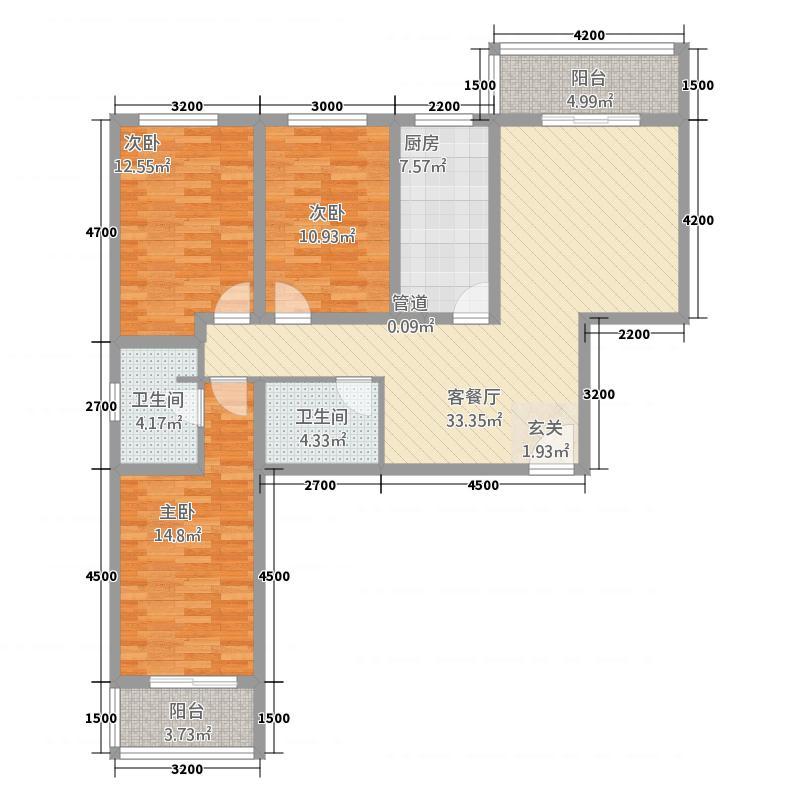 铜川上野名城133.20㎡户型3室2厅2卫1厨
