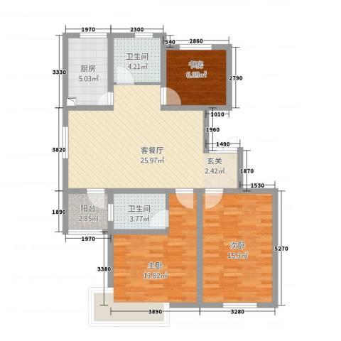 上海外郡3室1厅2卫1厨112.00㎡户型图