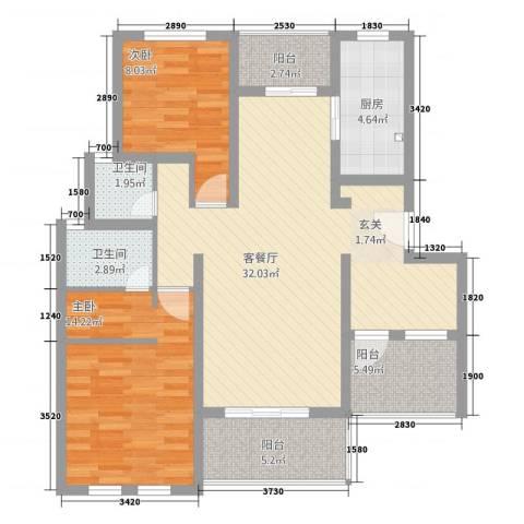 农房・英伦尊邸2室1厅2卫1厨112.00㎡户型图