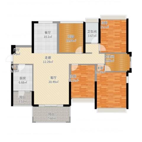 佳兆业帝景中央3室1厅2卫1厨172.00㎡户型图