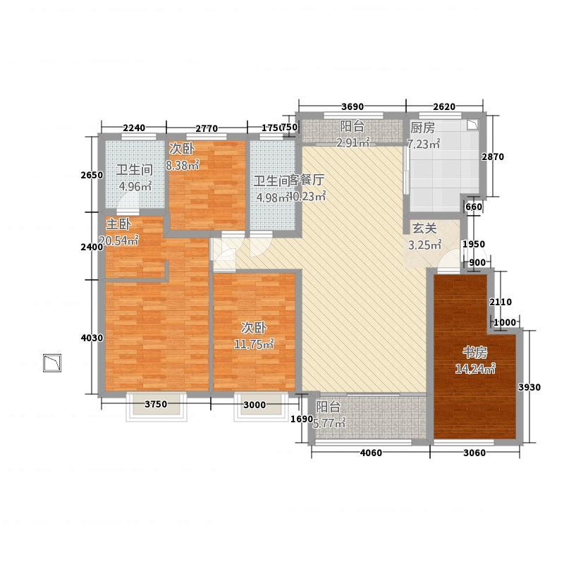 鲁中・康桥4172.20㎡H户型4室2厅2卫1厨