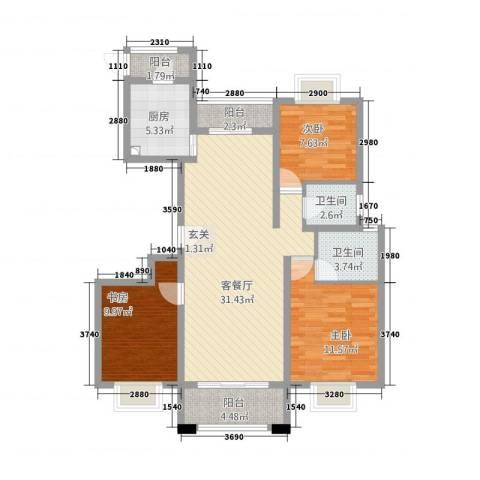 汉浦新村3室1厅2卫1厨118.00㎡户型图