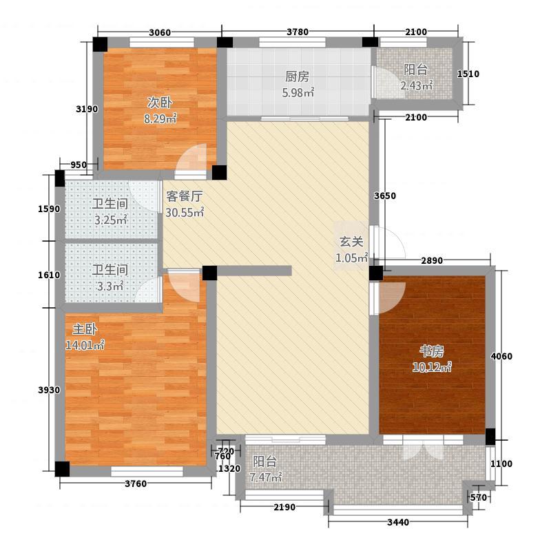 同�・玫瑰庄园123.30㎡3户型3室2厅2卫1厨