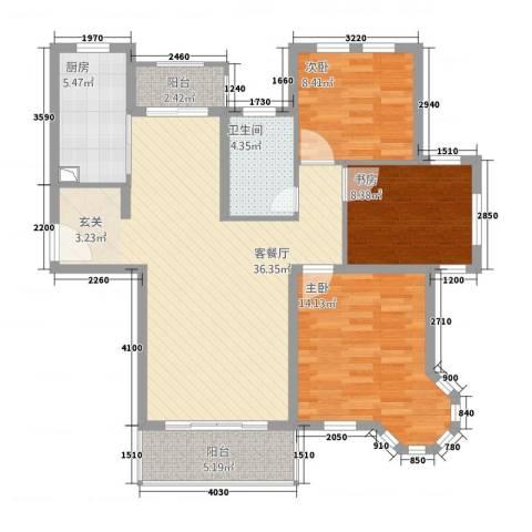 农房・英伦尊邸3室1厅1卫1厨116.00㎡户型图