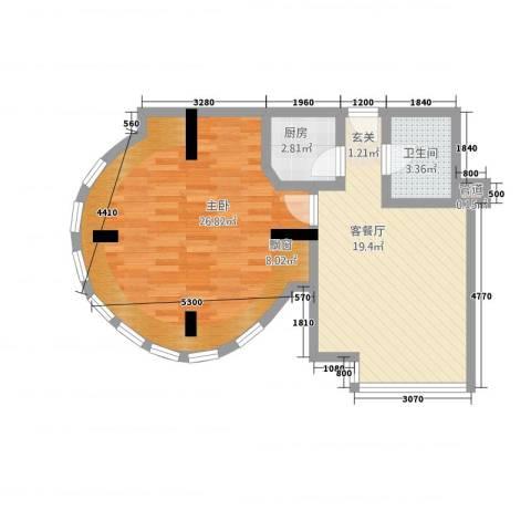北岸青年公寓1室1厅1卫1厨76.00㎡户型图