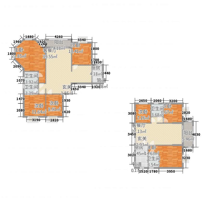 顺德南湖花园1115.12㎡1座01、1座03单位户型4室4厅4卫1厨