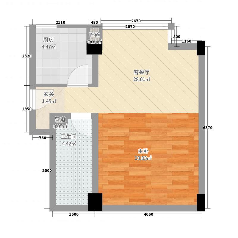 北岸青年公寓53.50㎡户型1室1厅1卫1厨