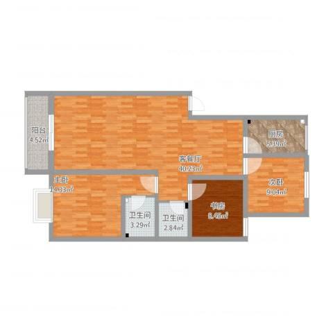 锦绣公园3室1厅2卫1厨126.00㎡户型图