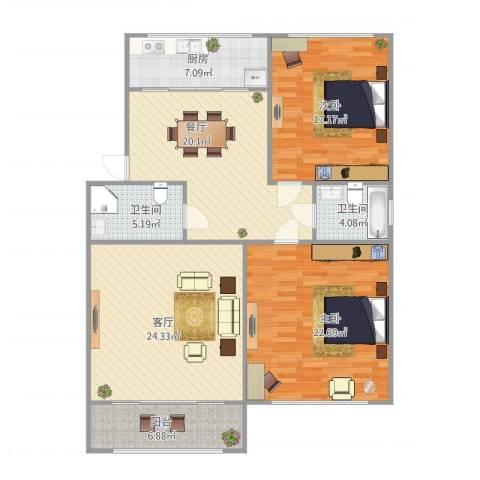 山景明珠花园2室2厅2卫1厨144.00㎡户型图