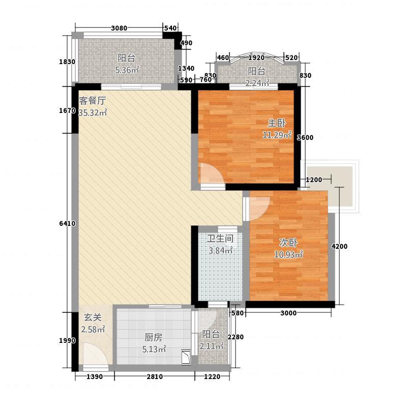 四季华庭绿世界2.00㎡1户型2室2厅2卫