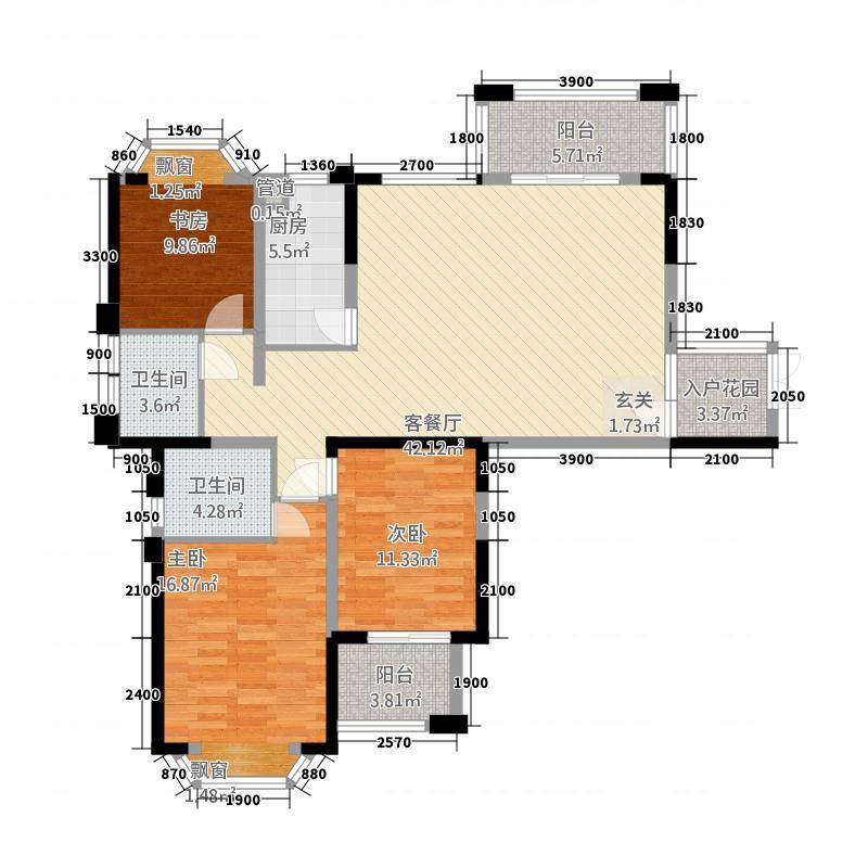 皇冠国际14.00㎡户型3室