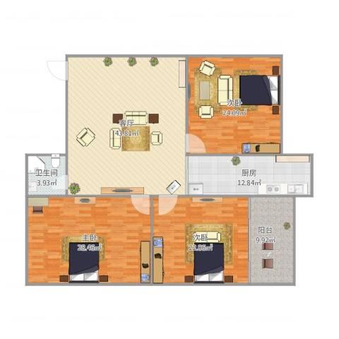 乐山小区3室1厅1卫1厨191.00㎡户型图
