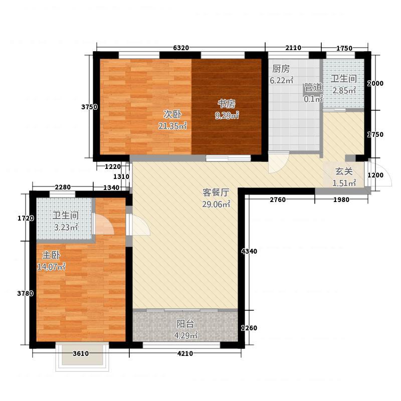 天昱・凤凰城二期115.45㎡F1户型2室2厅2卫1厨